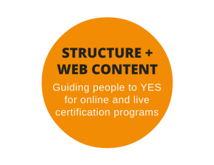Web structure and content for a SaaS company's certification program