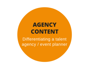 Web content for a talent and entertainment agency / event planning company