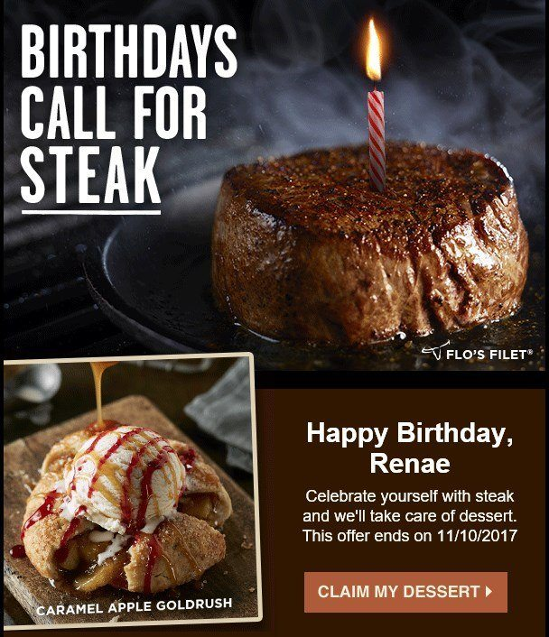 Longhorn promising a free dessert for my birthday
