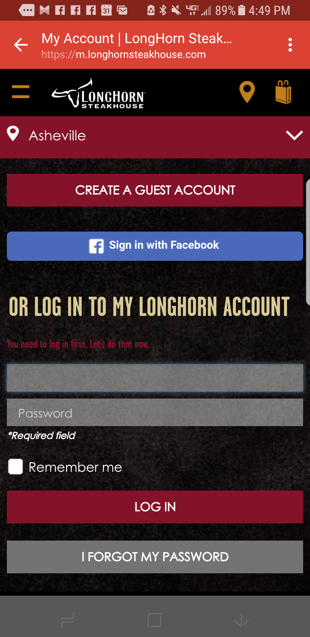 "Longhorn complex registration form - required to ""claim"" an offered free dessert"