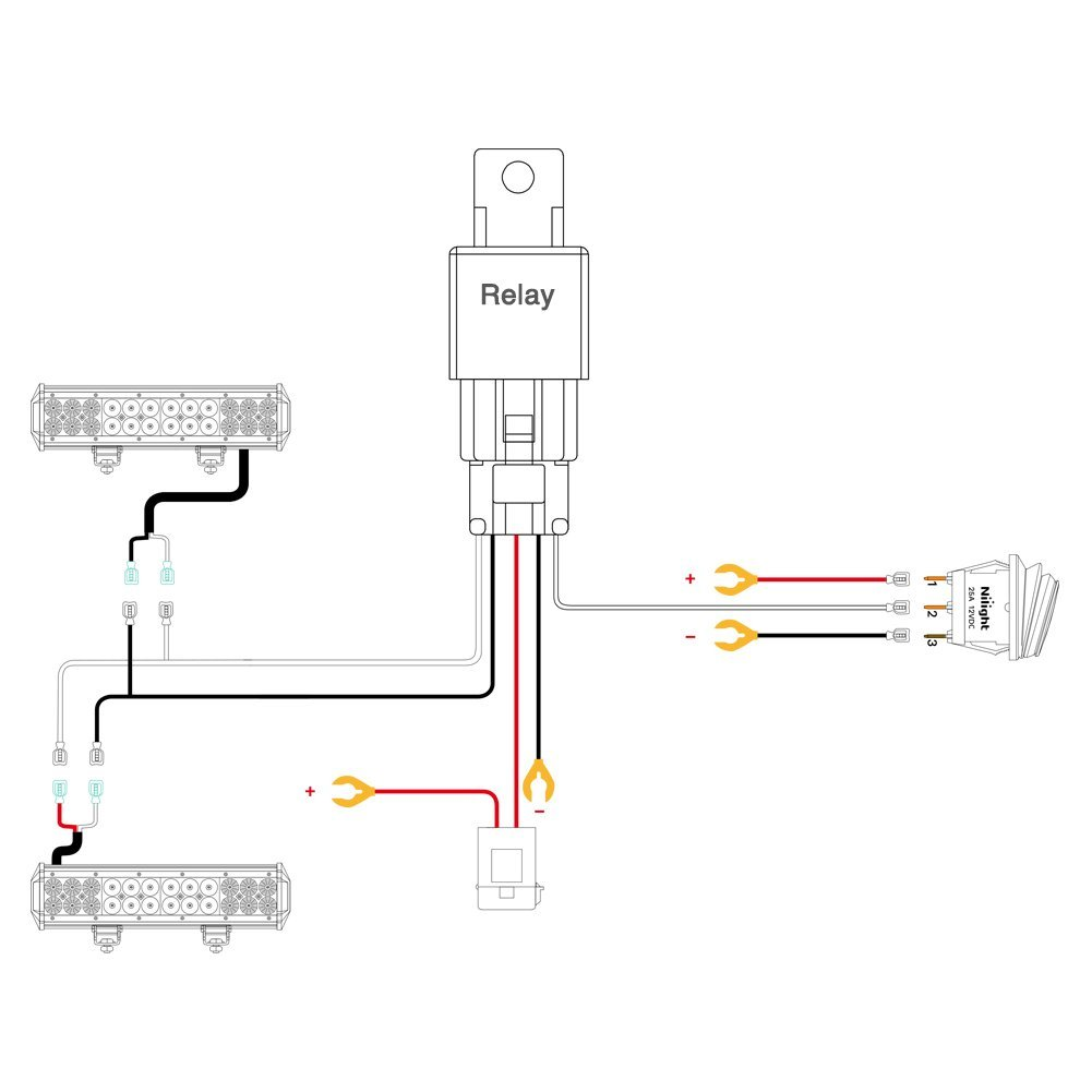 hight resolution of nilight led light bar wiring harness kit 12v on off switch led schematic diagram led capacitor wiring schematic