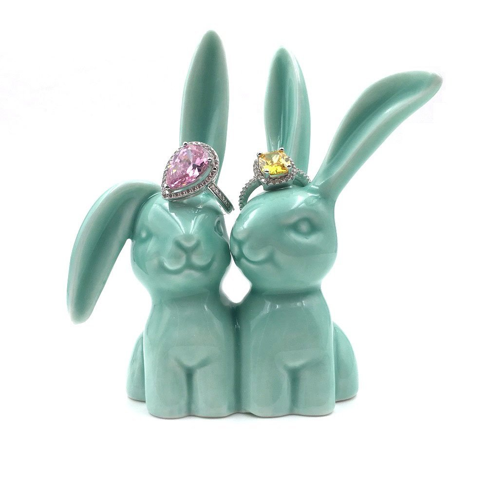 OYLZ Ceramic Rabbit Bunny Jewelry Ring Holder for Wedding