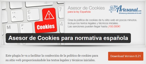 Plugin Asesor de cookies para WordPress