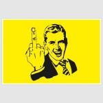 Middle Finger Meme Funny Poster (12 x 18 inch)