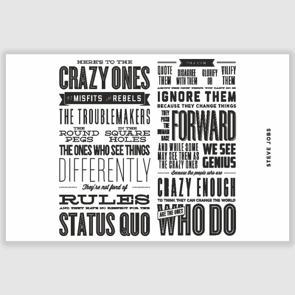 Steve Jobs- Heres to the crazy ones Inspirational Poster (12 x 18 inch)