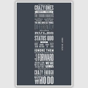 Steve Jobs - Heres to the crazy ones Inspirational Poster (12 x 18 inch)
