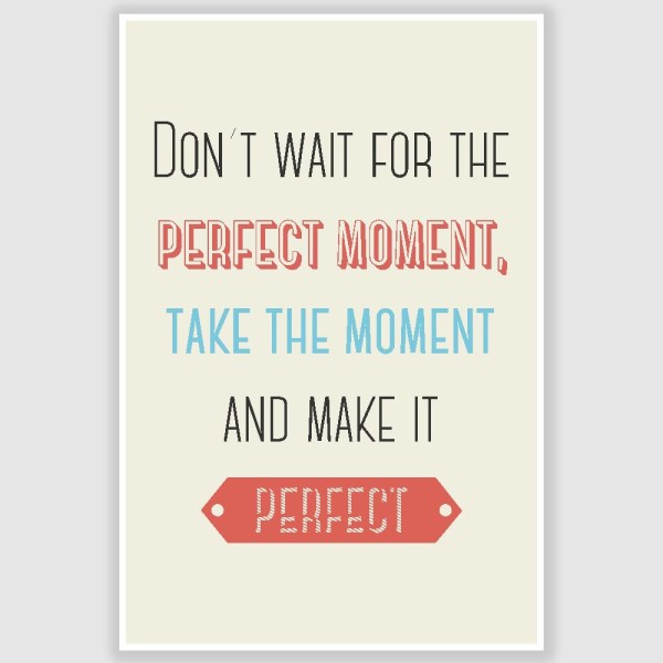 Dont Wait For The Perfect Moment Inspirational Poster (12 x 18 inch)