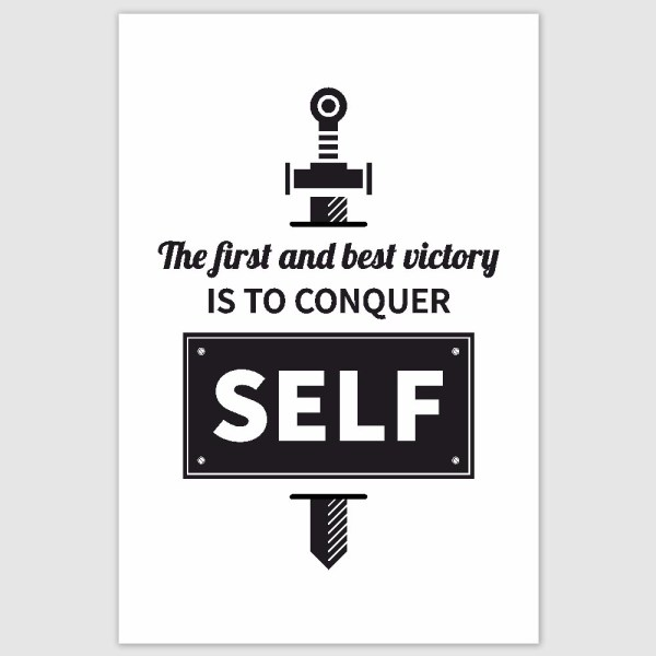Conquer Your Self Inspirational Poster (12 x 18 inch)