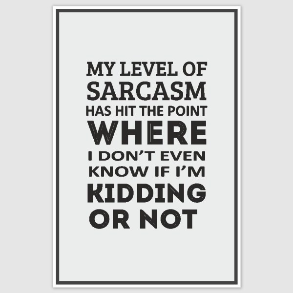 My Level of Sarcasm Funny Poster (12 x 18 inch)
