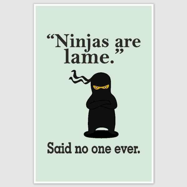 Ninjas Are Lame Poster (12 x 18 inch)