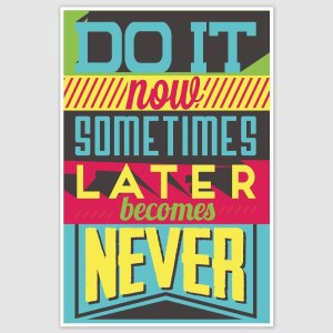 Do It Now Colorful Inspirational Poster (12 x 18 inch)