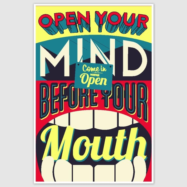 Open Your Mind Colorful Inspirational Poster (12 x 18 inch)