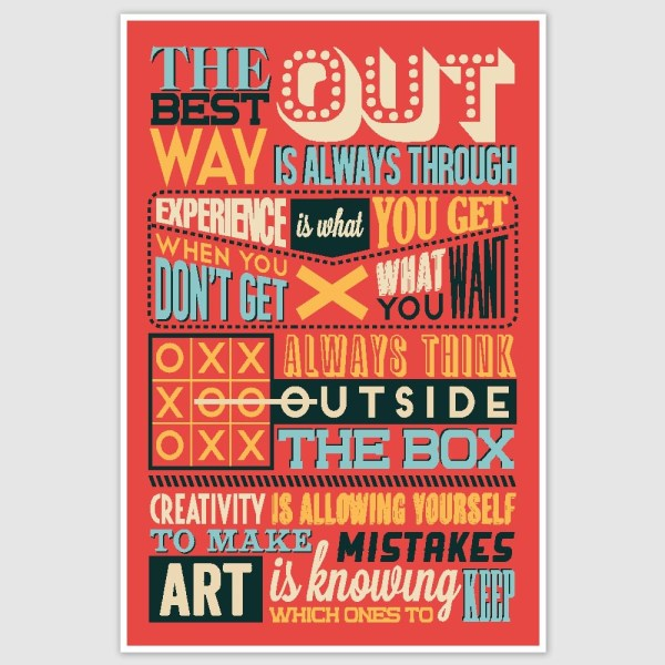 The Best Way Out Colorful Motivational Poster (12 x 18 inch)