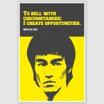 Bruce Lee - To Hell With Circumstances Inspirational Poster (12 x 18 inch)