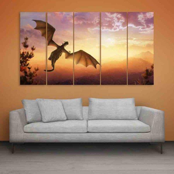 Multiple Frames Beautiful Dragon Wall Painting (150cm X 76cm)