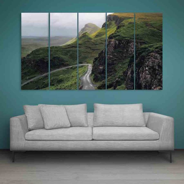 Multiple Frames Mountain Road Wall Painting (150cm X 76cm)