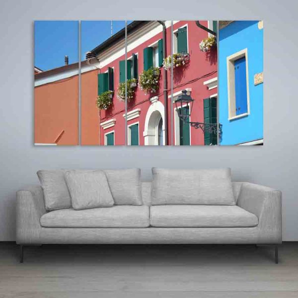 Multiple Frames Beautiful Colorful Homes Wall Painting (150cm X 76cm)