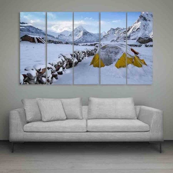 Multiple Frames Snow Mountains Wall Painting (150cm X 76cm)