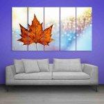 Multiple Frames Beautiful Leaf Wall Painting (150cm X 76cm)