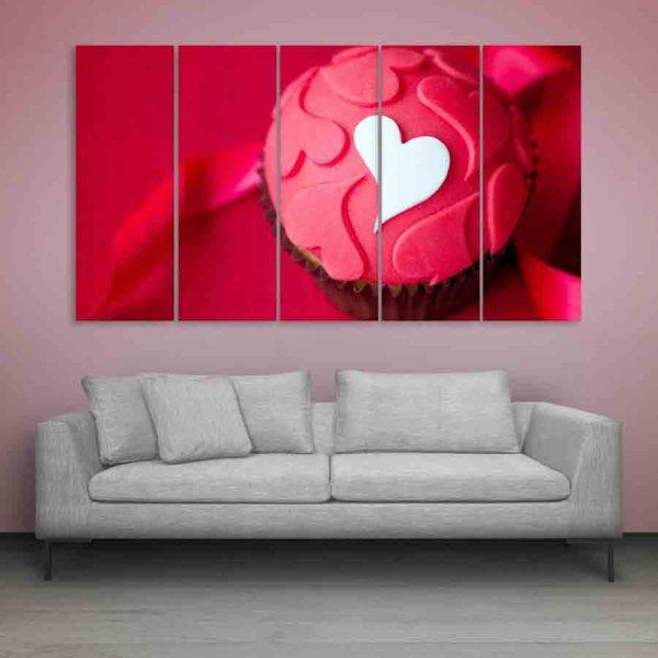 Multiple Frames Love Cupcake Wall Painting (150cm X 76cm)