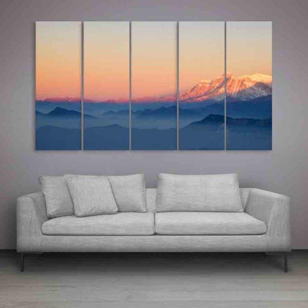 Multiple Frames Beautiful Mountain Peek Wall Painting (150cm X 76cm)