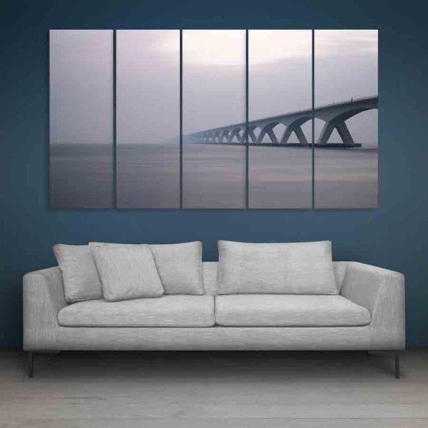 Multiple Frames Beautiful Bridge Wall Painting (150cm X 76cm)