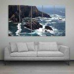 Multiple Frames Beautiful Sea Rocks Wall Painting (150cm X 76cm)