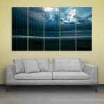 Multiple Frames Beautiful Sea Shore Wall Painting (150cm X 76cm)