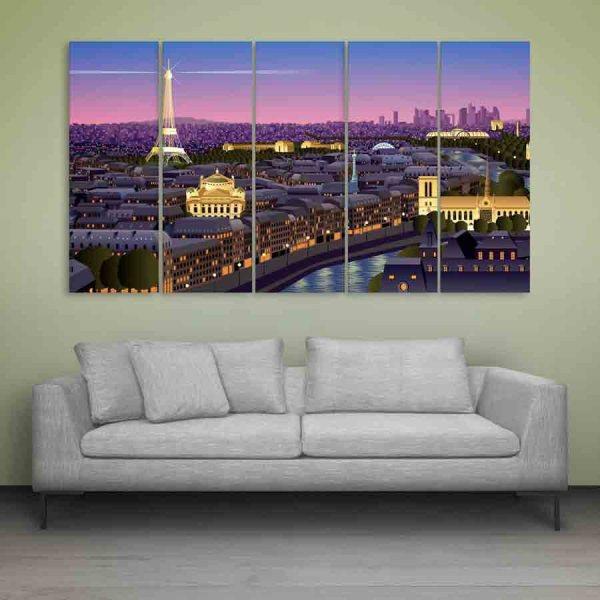 Multiple Frames Beautiful Sky Light Wall Painting (150cm X 76cm)