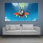 Multiple Frames Steep Skiing Wall Painting (150cm X 76cm)