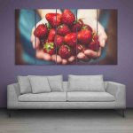 Multiple Frames Beautiful Strawberries Wall Painting (150cm X 76cm)
