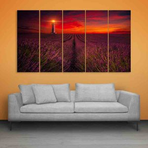 Multiple Frames Beautiful Flower Fields Wall Painting for Living Room, Bedroom, Office, Hotels, Drawing Room (150cm X 76cm)