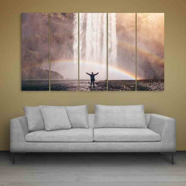 Multiple Frames Water Falls Wall Painting (150cm X 76cm)