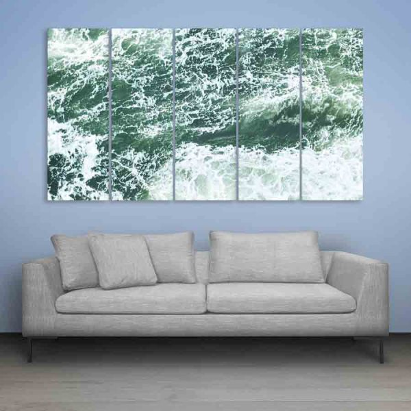 Multiple Frames Beautiful Water Waves Wall Painting (150cm X 76cm)