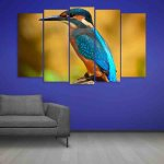 Multiple Frames Beautiful Kingfisher Bird Wall Painting (150cm X 76cm)
