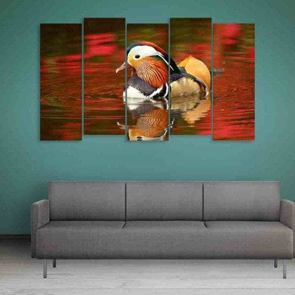 Multiple Frames Colorful Duck Wall Painting (150cm X 76cm)
