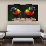 Multiple Frames Beautiful Parrots Wall Painting (150cm X 76cm)