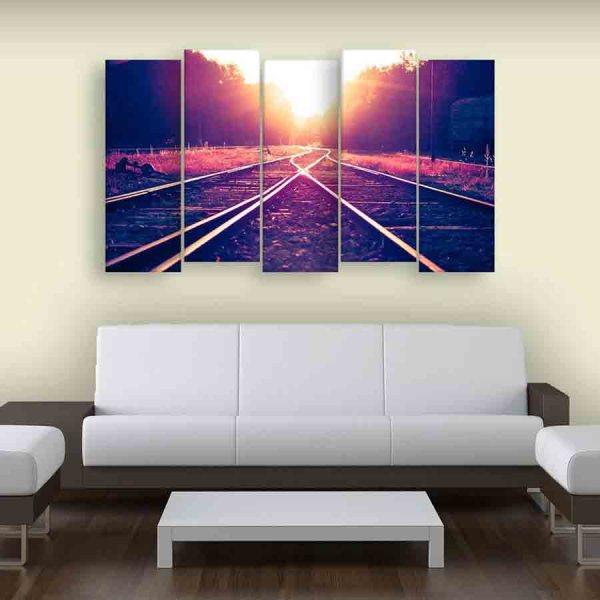 Multiple Frames Railway Track Sunset Wall Painting (150cm X 76cm)