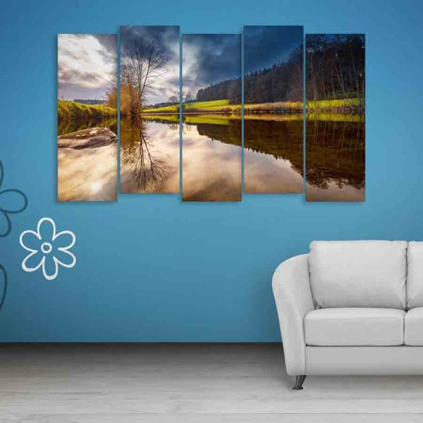 Multiple Frames Beautiful Nature Scenery Wall Painting (150cm X 76cm)
