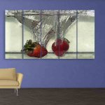 Multiple Frames Strawberries Wall Painting (150cm X 76cm)