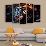 Multiple Frames Tiger Wall Painting (150cm X 76cm)