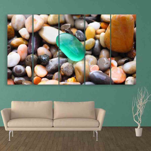 Multiple Frames Colorful Stones Wall Painting (150cm X 76cm)