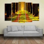 Multiple Frames Nature Forest Wall Painting (150cm X 76cm)