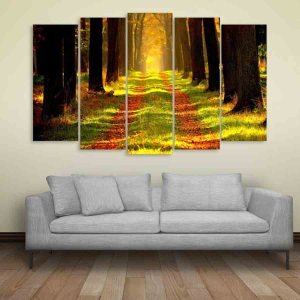 Multiple Frames Nature Forest Wall Painting for Living Room, Bedroom, Office, Hotels, Drawing Room (150cm X 76cm)