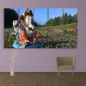 Multiple Frames Lord Ganesha Wall Painting (150cm X 76cm)
