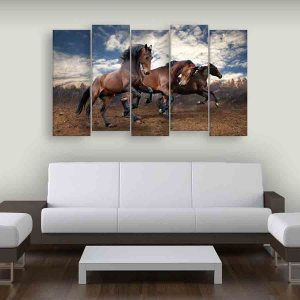 Multiple Frames Running Horses Wall Painting (150cm X 76cm)