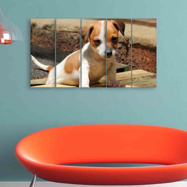 Multiple Frames Beautiful Puppy Wall Painting (150cm X 76cm)