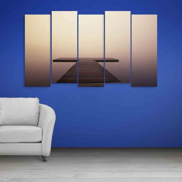 Multiple Frames Beautiful Wooden Track Wall Painting (150cm X 76cm)