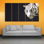 Multiple Frames Tiger polygon Wall Painting (150cm X 76cm)