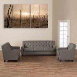 Multiple Frames Nature Barren Field Wall Painting (150cm X 76cm)